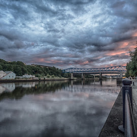 Sunset Over The Tyne by Adam Lang - Landscapes Sunsets & Sunrises ( sky, tyne, sunset, newcastle, river )