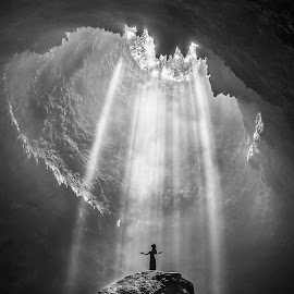 Lights of Hope by Joyce Chang - Landscapes Caves & Formations ( lights, nature, jomblang, cave, rays )