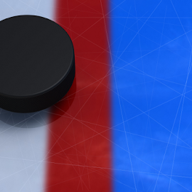 Hockey puck crossed a red line by Alexey Romanenko - Sports & Fitness Ice hockey ( defeat, nobody, copy space, detail, hockey, surface, scratches, top view, one, sporting, score, sports, round, equipment, object, championship, accessory, arena, ice, wintry, black, puck, closeup, red line, victory, element, rubber, standard, texture, white, behind, sport, 3d illustration, shape, game, ribbed, goalkeeper zone, goal, gate, new, schedule, blue, color, background, crossed, match )