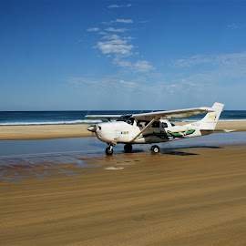 Fraser Island  Airstrip by Tim Bennett - Transportation Airplanes ( queensland, aeroplane, australia, tropical, fraser island, beach )