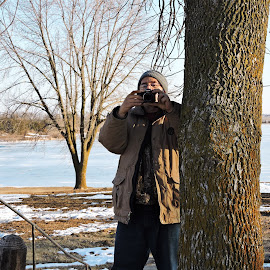 My Sweetie Taking My Photo by Cindy Cooper Houser - People Portraits of Men ( person, seasonal, winter, camera, photographer, photo taking, men, people, men portraits, photography, man, photographers, taking a photo, photographing, photographers taking a photo, snapping a shot )