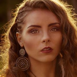 Sun Burst  by Kelly Horn - People Fashion ( sunset, curls, jewelry, beauty, dark lip )
