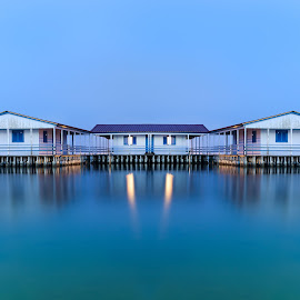 My Floating House by Bill Peppas - Buildings & Architecture Other Exteriors ( shore, home, hellas, reflection, fish, reflected, messolongi, ocean, house, float, mirror, lights, fisher, homes, pond, light, water, mesolongion, building, houses, greece, sea, lake, hour, dusk, reflecting, fishermen, messolongion, blue, floating, mesolongi, fishing, reflect, floater )