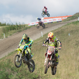 In Sync by James Booth - Transportation Motorcycles ( motorbike, motocross, pair, motorcycle, jump )