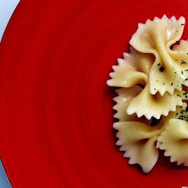 Pasta by Vineet Johri - Food & Drink Plated Food ( italian food, red plate, vkumar phtoography, pasta, butterfly pasta )