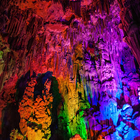 Reed Flute Cave by Sam De Block - Landscapes Caves & Formations ( reed flute cave, psychedelic, multi colour, guilin, china )