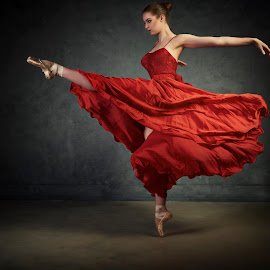 Dance in Red by Dennis Bater - People Musicians & Entertainers
