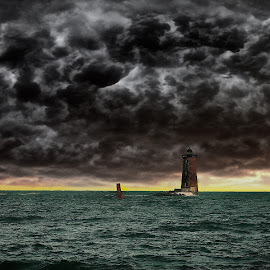 Whaleback Lighthouse  by Alex  Wolf - Buildings & Architecture Public & Historical ( clouds, water, alex wolf, wolfproductions.us, dark, lighthouse, reflections, ocean, storm, whaleback )