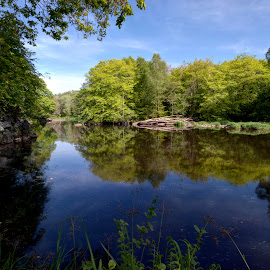 A great spot for fishing by Stephen Crawford - Landscapes Waterscapes ( colour, aulhaw, peaceful, riverside, saturation, trees, river ayr, pond, ultra wide angle,  )