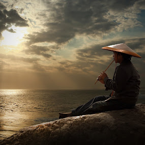 Flute Sunset by Suloara Allokendek - People Portraits of Men ( flute, sunset, dark, beach, light )