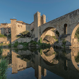 Besalu Bridge, Girona, Spain by Liam Coburn Dunne - Buildings & Architecture Bridges & Suspended Structures ( water, reflection, blue, nikon d800, arches, architecture, bridge, nikon 12-24, roman, medieval,  )