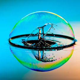 Bubble Splash by Tim Owens - Abstract Water Drops & Splashes ( water, bubble, splash, high speed, collision, water drop )