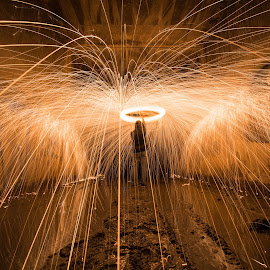 Fire Tornado by Givanni Mikel - Abstract Light Painting ( steel wool, steel, wool, fire, tunnel )
