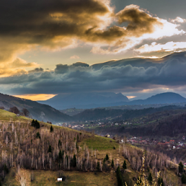 Early Morning in Pestera by Tudor Migia - Landscapes Mountains & Hills ( clouds, hills, village, trees, romania, sun, pestera )