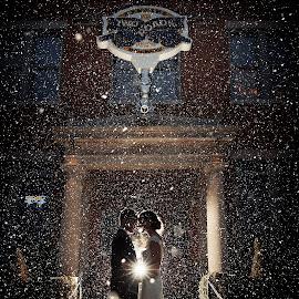 Kiss of Snow by Joseph Humphries - Wedding Bride & Groom ( brewery, winterwedding, winter, creative, backlight, wedding, snow, bride, groom, snowing )