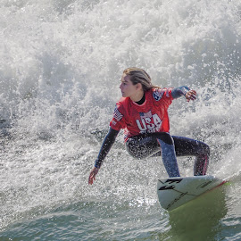 Lady Ssurfer by Jose Matutina - Sports & Fitness Surfing ( water, california, sea, pacific, sport, ocean, huntington beach, girl, surfing, orange county, female, surfer, surfboard, woman, wave, olympus )