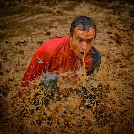 Red Splash ! by Marco Bertamé - Sports & Fitness Other Sports ( water, brwon, splash, splatter, waterdrops, soup, sitting, mud, red, strong, drops, dirty, strongmanrun, man )