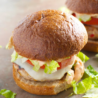 Turkey Burgers with Provolone and Thousand Island Dressing