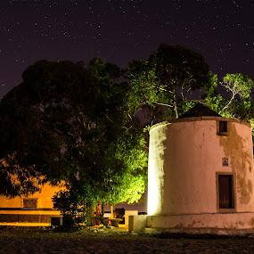Alburrica mill by José Borges - City,  Street & Park  Night ( mill, tagus river, stars, trees, night, portugal, barreiro,  )