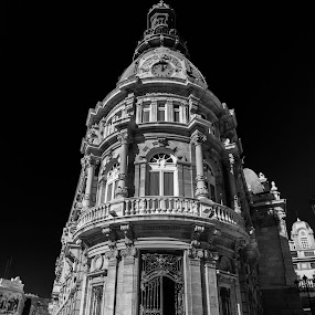 El Palcio by Alexandre Rios - Buildings & Architecture Architectural Detail ( detail, europe, cartagena, black and white, beautiful, places of interest, architecture, palace, historic, photography, spain )