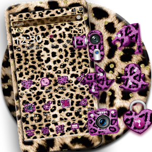 Pink Gold leopard Print Theme For PC