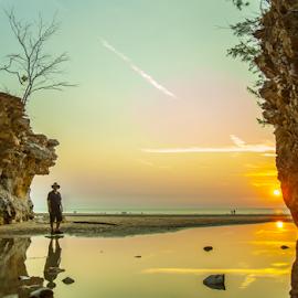 Dripstone Sunset by David Millard - Landscapes Beaches ( colour, water, reflection, cliffs, sunset, beach, darwin, dripstone,  )