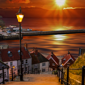 199 Steps Of Whitby by Sandra Cockayne - Digital Art Places ( victorian lantern, sandra cockayne, whitby, sunrise, places, street lights, 199 steps,  )