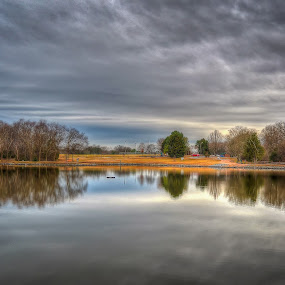 Cloudy Day At The Park by Randell Whitworth - City,  Street & Park  City Parks ( sky, hdr, park, cloudy, lake )