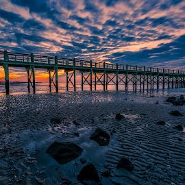Pier Sunrise by John Sinclair - Buildings & Architecture Bridges & Suspended Structures ( clouds, water, colors, ocean, sunrise, landscapes )
