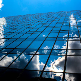 Reflections of the Sky by Angela Hernandez - Buildings & Architecture Architectural Detail ( clouds, building, sky, nature, skyscraper, reflections, reflection, people, places, architecture )