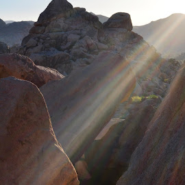 Refraction by Savannah Eubanks - Nature Up Close Other Natural Objects ( sunbeams, sunrays, boulders, desert, sun, hi desert, joshua tree national park )