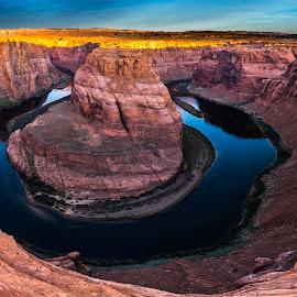 Horseshoe Bend by Leon Kauffman - Landscapes Deserts ( colorado river, horsehoe bend, page, arizona, page arizona )