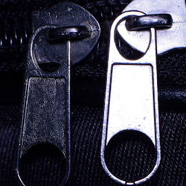 Twin BW Zipper Head by Wartono - - Artistic Objects Clothing & Accessories ( zipper head, zip, clothing, closed, zipper, close up, closed up, close )