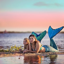 by Stephanie Espinoza - People Family ( water, ladies, mother, tails, fins, daughter, pretty, mermaid )