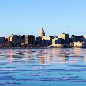 Madison Frozen Skyline by Doug Maertz - City,  Street & Park  Skylines