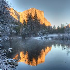 El Capitan by Eleazar Valdez - Landscapes Sunsets & Sunrises ( reflection, el capitan, beautiful, snowy, quiet, beauty, w, soli, mountains, cold, yosemite, sunset, snow, la,  )
