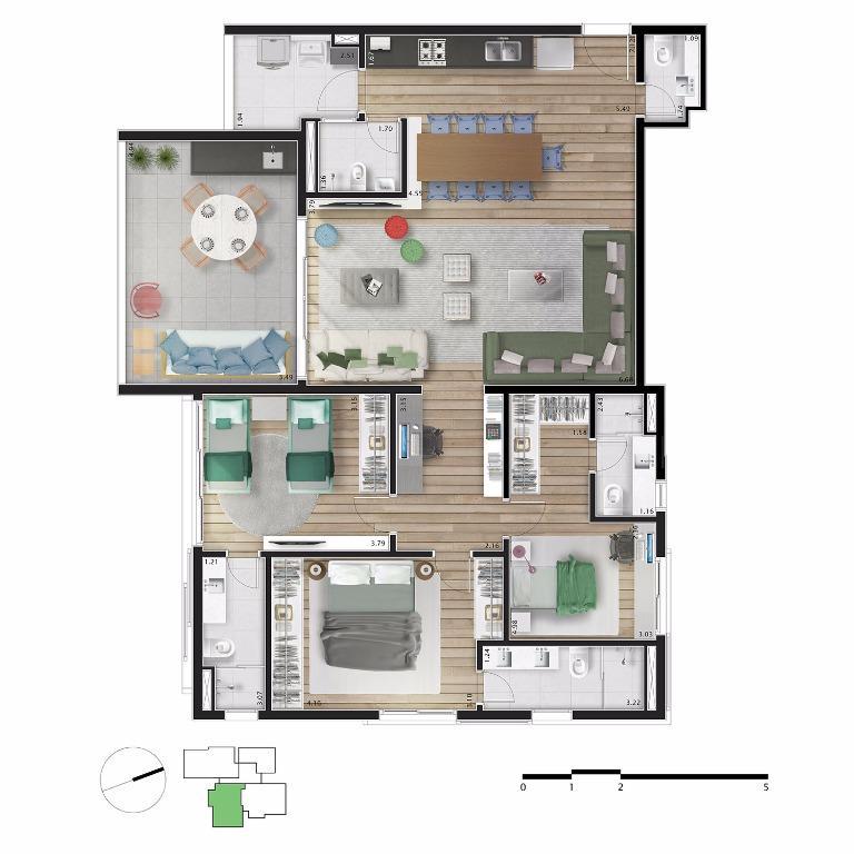 Planta Apto 22,42 e 62 - 146 m²