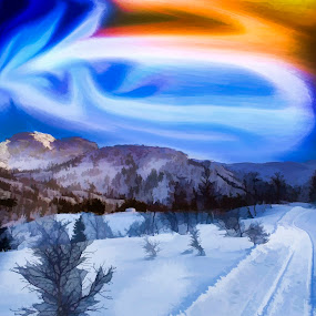 Light dancing on the sky by Fredrik A. Kaada - Painting All Painting ( skiing, vertical, hills, moment, land, artwork, contrast, mountains, tree, ice, snow, dark, best, painting, light, forms, top, hill, orange, art, forest, enjoy, tracks, figures, winter, red, blue, artistic, lines, dance )