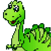 Dinosaurs Color by Number-Pixel Art Draw Coloring Icon