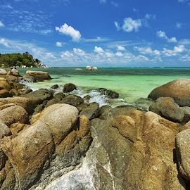 Rocks of Trikora Beach, Bintan by Kristianus Setyawan - Nature Up Close Rock & Stone ( clouds, skyline, waterscape, clouds and sea, cloudscape, seascape, seaside, landscape, nature, skyporn, nature up close, landscape photography, rock formation, rocks, skyscape )
