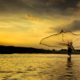 Fishing Time by Anitava Roy - Landscapes Sunsets & Sunrises ( #fishing #sunset #river #against_light #daily_life,  )