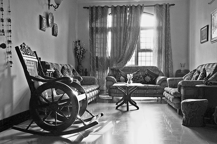 My drawing room in BW by Pradeep Kumar - Black & White Objects & Still Life
