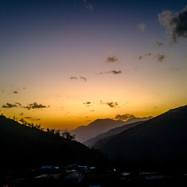 Sun set @ Panthwadi by Akashneel Banerjee - Instagram & Mobile Other ( mountain, himalaya, sunset, trees, trek )