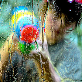 The Window Washer by Judy Laliberte - Novices Only Portraits & People ( water, red, green, colors, glass, boy )