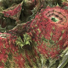 Frazzberries by Glenda Popielarski - Illustration Food & Drink ( m3d, fruit, raspberry, green, mb3d, abstract art, mandelbulb 3d, fractal art, digital art, pink, fractals, berries, raw fractals )