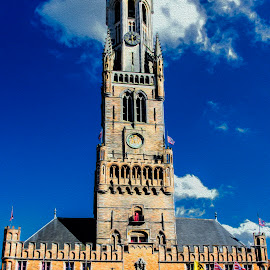 Belfry in Bruges by Pravine Chester - Digital Art Places ( building, manipulated, digital art, bruges, architecture, places, digital painting, belfry )