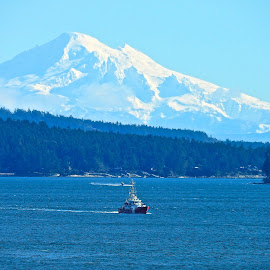 Canadian Coast Guard, US Mountain by Campbell McCubbin - Landscapes Mountains & Hills ( coast guard, mountain, snow, mt. baker, kulshan, ocean )