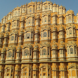 HAWA MAHAL by Nagaraja Adiga - Buildings & Architecture Statues & Monuments ( buildings, windows, monument, pink, india )
