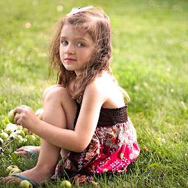 My Green Apple Girl by Nancy Senchak - Babies & Children Child Portraits