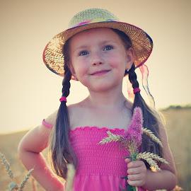 Model in Corn by Jiri Cetkovsky - Babies & Children Child Portraits ( brno, moravia, model, girl, pink, corn )